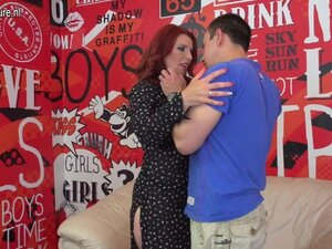 Hot redhead mother sucks dick and gets fucked by