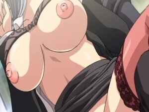 Big titted hentai babe gets gangbanged on the