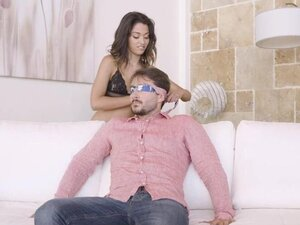 Lingerie MILFs blindfold him and sucks his thick