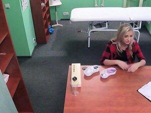 Hot blonde with smoking problem bangs doctor
