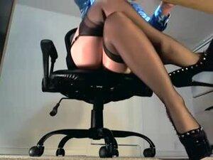 Charming Hot Nylon Legs Underneath The Desk, Hot