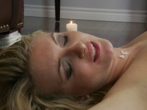 Hot candle wax poured over gorgeous blonde sex
