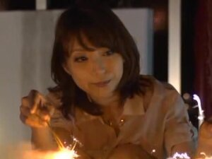 Horny Yuuko Shiraki fondles her pussy at a balcony