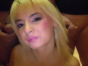 Brunette and blonde bukkake chicks in bukkake
