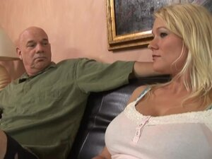 Filthy blond hun is having orgasm with an old man