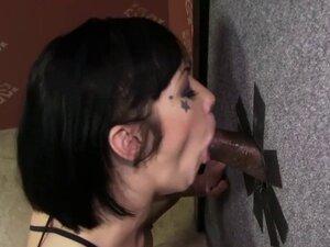 Asphyxia Noir takes black cock at Gloryhole