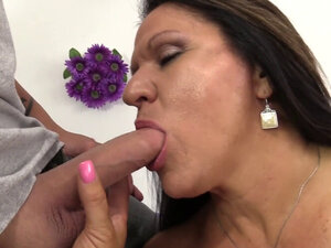 Mature Brunette Leylani Wood Bounces on a Hard Rod