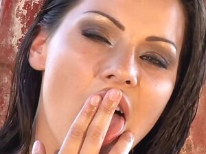 Perfect bodied brunette masturbating wild
