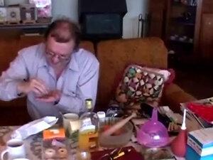 Old Doctor Gives Brunette Her Medicine