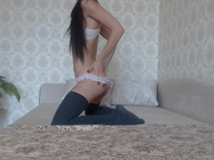 Perfect Teen 18yo Plays with a Huge Glass Dildo
