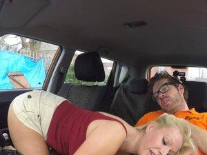 Huge tits blonde Milf bangs in driving school