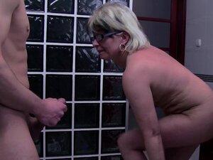 Grey Haired Stepmom Fucks Her Bathroom Jerking