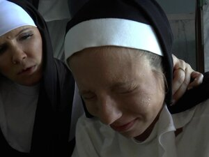 Salacious nuns find a dildo and go lesbian playing