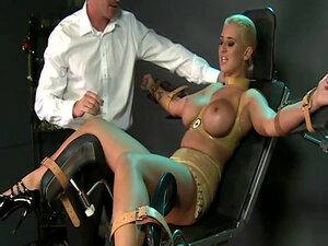 Strapped in gyno chair blonde slave toyed