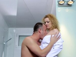 Curly blonde mom fucks in shower