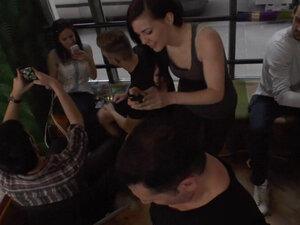 Slave in fetish clothes fucked in public
