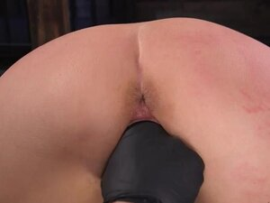 Chained blonde is made ride Sybian