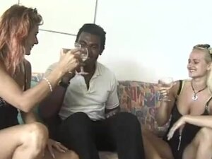 Amateur interracial 3some with facial cumshot, 2