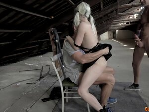 Slim pigtailed blonde in the attic and fucking two