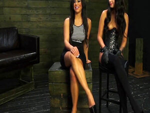 Mistress fucks bound girl with strap-on