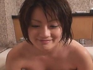 Japanese babe washes cock then uses it wisely
