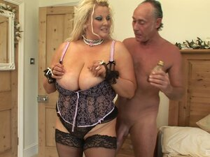A BBW with monster tits gets plowed and sucks a