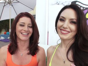 Two girls give a double blowjob then get drilled