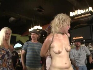 Blonde dragged and anal fucked in bar