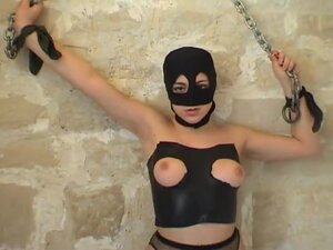 Horny French guy fucking a masked brunette whore,