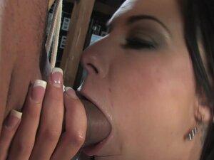 Bonded brunette slave girl gets gangbanged hard by