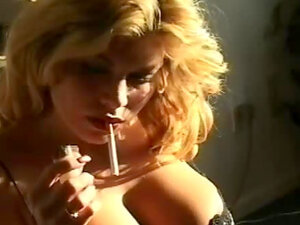 Smoking girl with big tits is hot