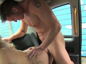 Horny female driver fucks dude on backseat