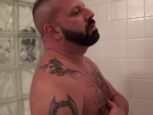Tattooed bear assfucking cub in bathroom, Tattooed