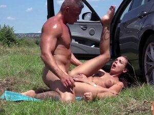 Euro brunette Angelina Wild shows perky natural