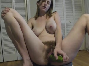 My super hairy pussy devouring a cucumber