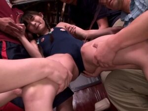Tiny asian babe getting toyed in group
