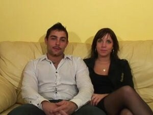 Horny French couple is interviewed before fucking,