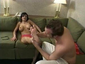 Short-haired dude licks and kisses hot babes